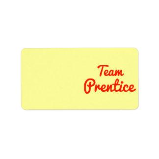 Prentice del equipo etiquetas de dirección