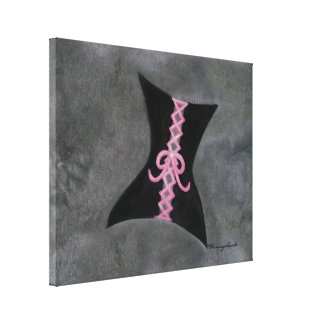 Preoccupied Original | Black Corset Pink Ribbon Canvas Print