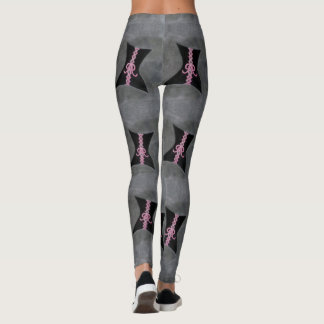 Preoccupied Style | Chic Black Corset Pink Ribbon Leggings