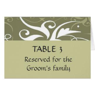 Prepara la carta del asiento del lugar del boda de tarjeta pequeña