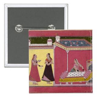 Preparación de la cama, Bilaspur, c.1690-1700 Pin Cuadrada 5 Cm
