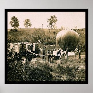 Preparación de un globo militar, molino de Gaines, Póster