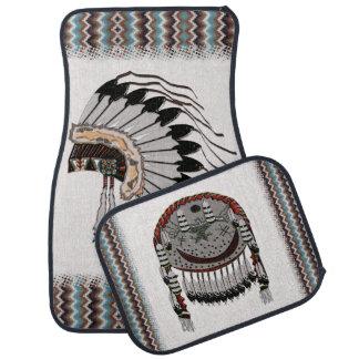 Preparaciones del nativo americano alfombrilla de auto