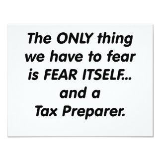 """preparador de impuesto del miedo invitación 4.25"""" x 5.5"""""""