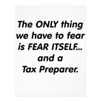 Preparador de impuesto del miedo tarjeton