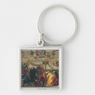 Preparation For the Firework Display Silver-Colored Square Keychain