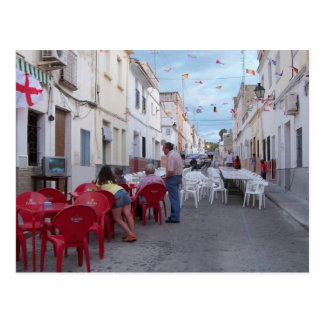 Preparation of the street party. post card