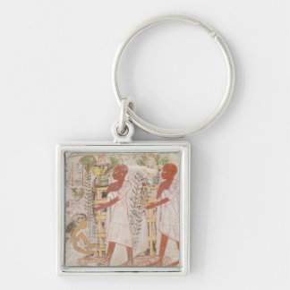 Preparation two mummies for purification ceremony Silver-Colored square keychain