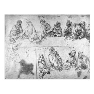 Preparatory drawing for the Last Supper Postcard