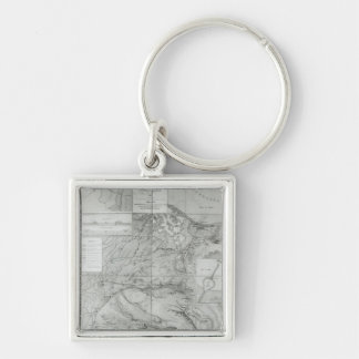 Preparatory Map of the Suez Canal, 1855 Silver-Colored Square Keychain