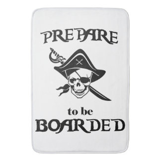 Prepare to be Boarded Black Pirate Skull and Sword Bath Mat