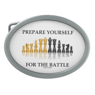 Prepare Yourself For The Battle (Chess) Oval Belt Buckle