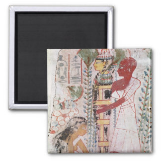 Preparing a mummy for a purification ceremony 2 inch square magnet
