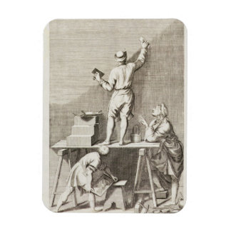 Preparing a wall for fresco painting (engraving) rectangular photo magnet