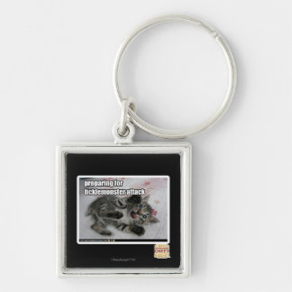 Preparing For Ticklemonster Attack Silver-Colored Square Keychain