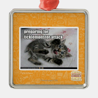 Preparing For Ticklemonster Attack Square Metal Christmas Ornament