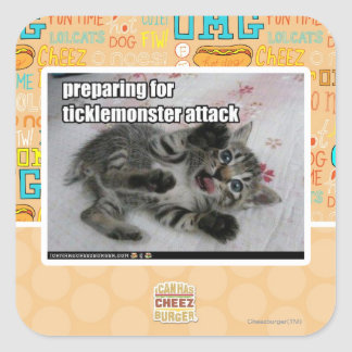 Preparing For Ticklemonster Attack Square Sticker