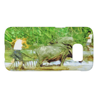 Preparing Rice Fields With Oxen Abstract Samsung Galaxy S7 Case