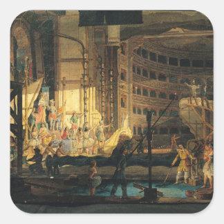 Preparing Scenery in a Theatre Square Sticker