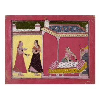 Preparing the Bed, Bilaspur, c.1690-1700 Postcard