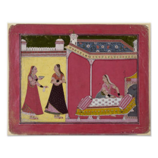 Preparing the Bed, Bilaspur, c.1690-1700 Poster