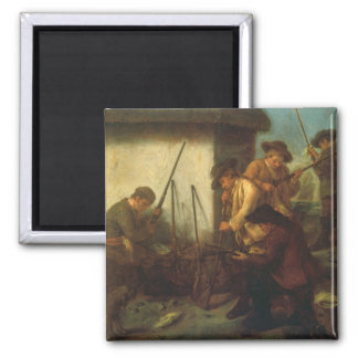 Preparing the Guns (oil on canvas) 2 Inch Square Magnet