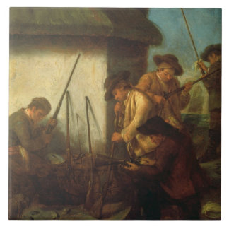 Preparing the Guns (oil on canvas) Ceramic Tile
