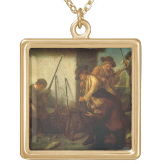 Preparing the Guns (oil on canvas) Gold Plated Necklace