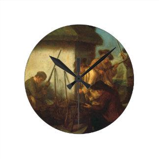 Preparing the Guns (oil on canvas) Round Clock