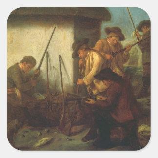 Preparing the Guns (oil on canvas) Square Sticker