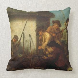 Preparing the Guns (oil on canvas) Throw Pillow