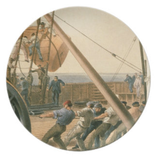 Preparing to launch one of the large buoys, August Plate