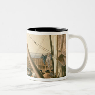 Preparing to launch one of the large buoys, August Two-Tone Coffee Mug