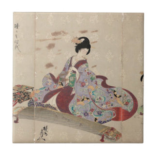 Preparing to Play the Koto by Toyohara Chikanobu Ceramic Tile