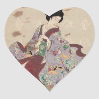 Preparing to Play the Koto by Toyohara Chikanobu Heart Sticker