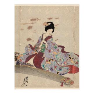 Preparing to Play the Koto by Toyohara Chikanobu Postcard