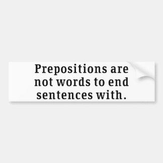 Prepositions Car Bumper Sticker