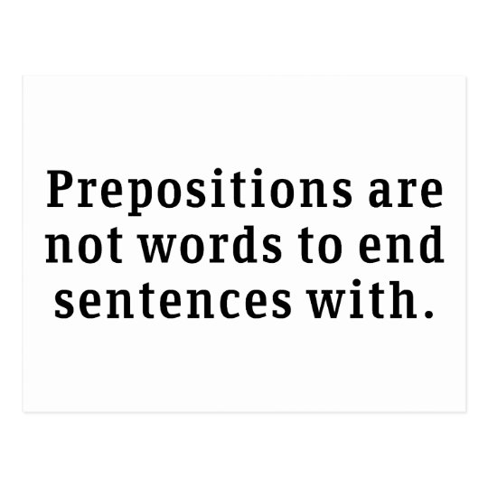 Prepositions Postcard