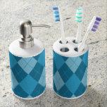 Preppie-Forever-Argyle-Blue(c)Kitchen _Bathroom Soap Dispenser And Toothbrush Holder