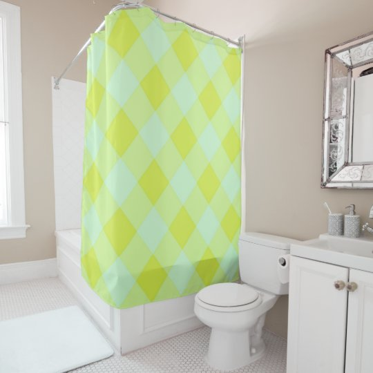 Preppie Pool House Argyle Lime Blue Unisex Shower Curtain