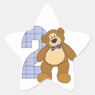 Preppy 2 Year Old Teddy Bear with Bow Tie Star Sticker