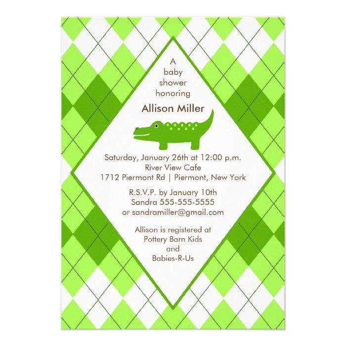 Preppy Alligator Baby Shower Invitation Green