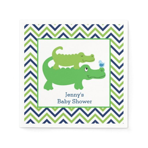 Preppy Alligator Chevron Stripe Napkin