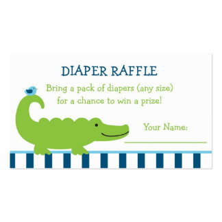 Preppy Alligator Diaper Raffle Tickets Double-Sided Standard Business Cards (Pack Of 100)