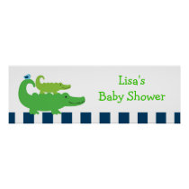 Preppy Alligator Personalized Banner Sign Poster