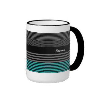 Preppy and Fresh Teal Stripes With Name Ringer Coffee Mug