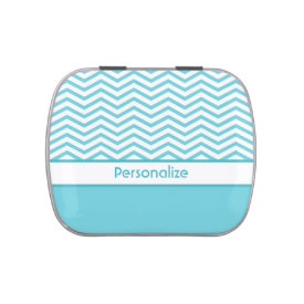 Preppy Aqua Blue and White Chevrons With Name Jelly Belly Candy Tin at Zazzle