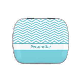 Preppy Aqua Blue and White Chevrons With Name Candy Tin