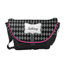 preppy argyle black and white personalized messenger bag