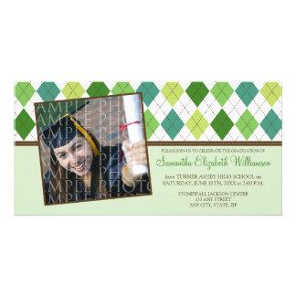 Preppy Argyle Custom Graduation Announcement :: 01 Photo Card